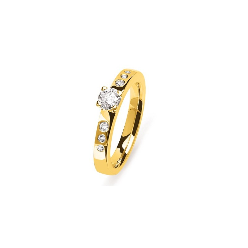 bague or jaune 7 diamants